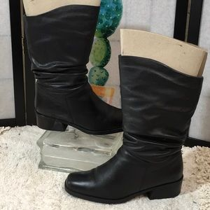 St John's Bay black leather slouch boots